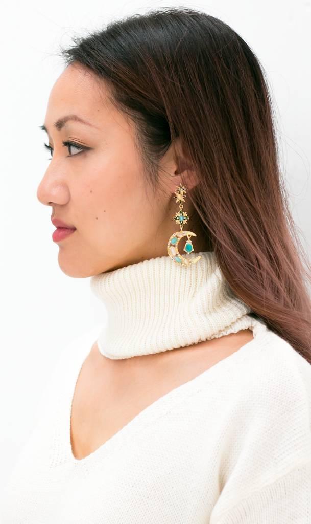 Baroque Golden Sun and Moon earrings (blue)