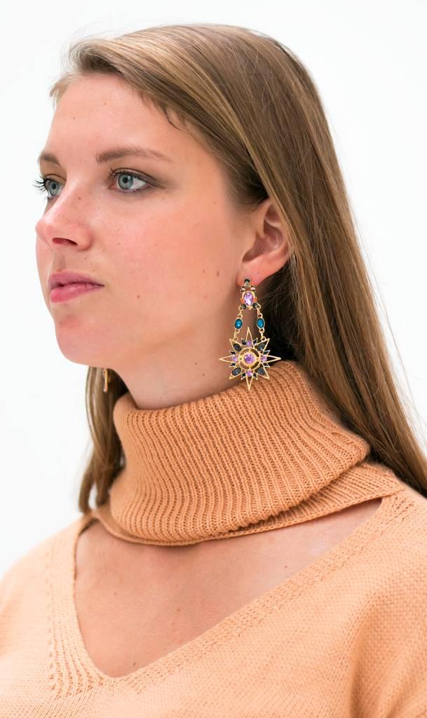 Baroque gouden zon en maan oorbellen (paars)