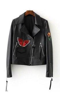 Biker jacket met borduursels