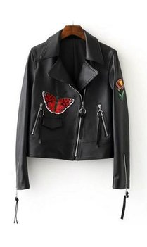 Embroidered leather bikerjacket