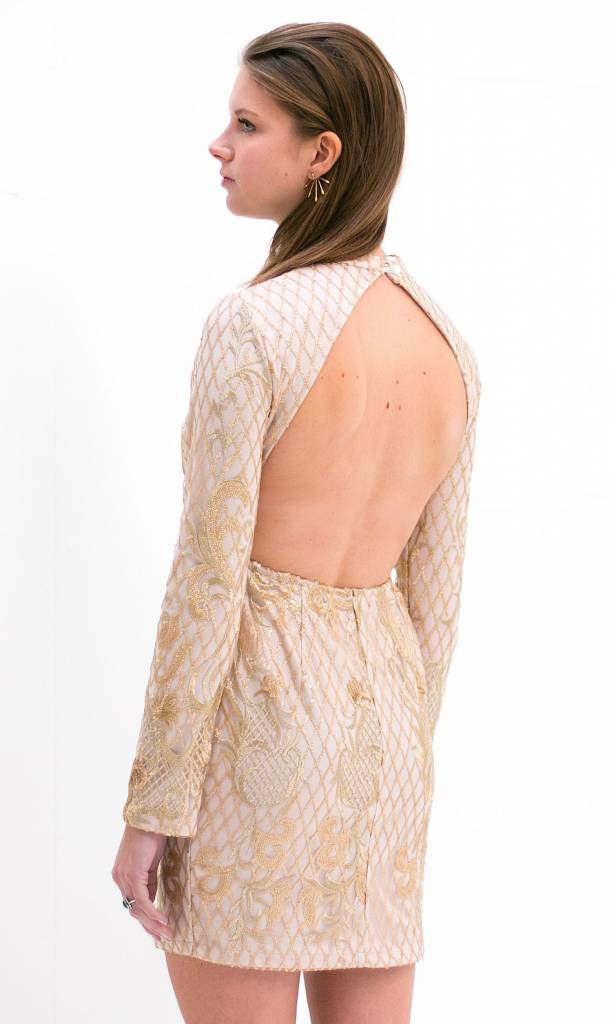 backless sequin party dress (nude)