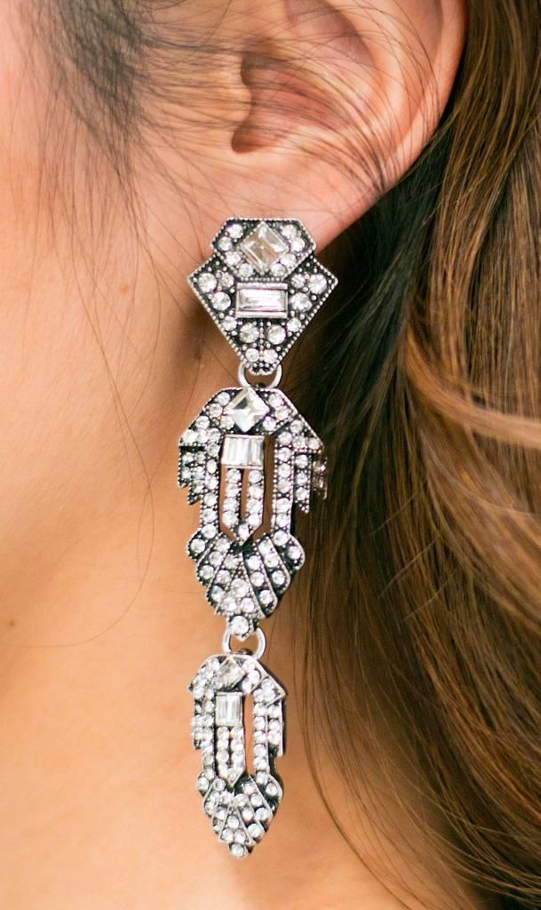 Statement Long Silver Earrings