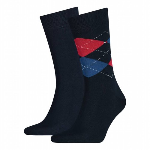 Tommy Hilfiger 2-pack check (ruit) herensokken Tommy Original