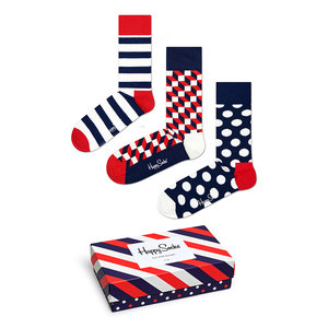 Happy Socks Classic Stripe Gift Box Blauw Wit Rood