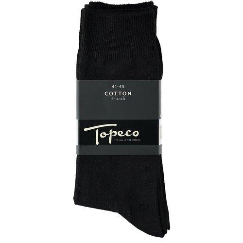 Topeco Katoenen sok zwart/black 4-pack
