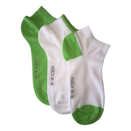 Kock Sockswear 3-pack naadloze sneakersokken dames groen met wit