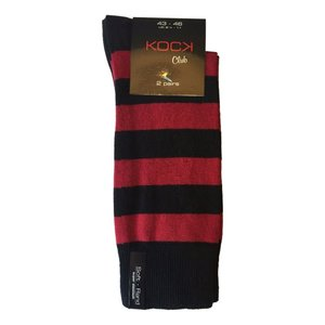 Kock Sockswear 2-pack naadloze gestreepte herensokken zwart-rood