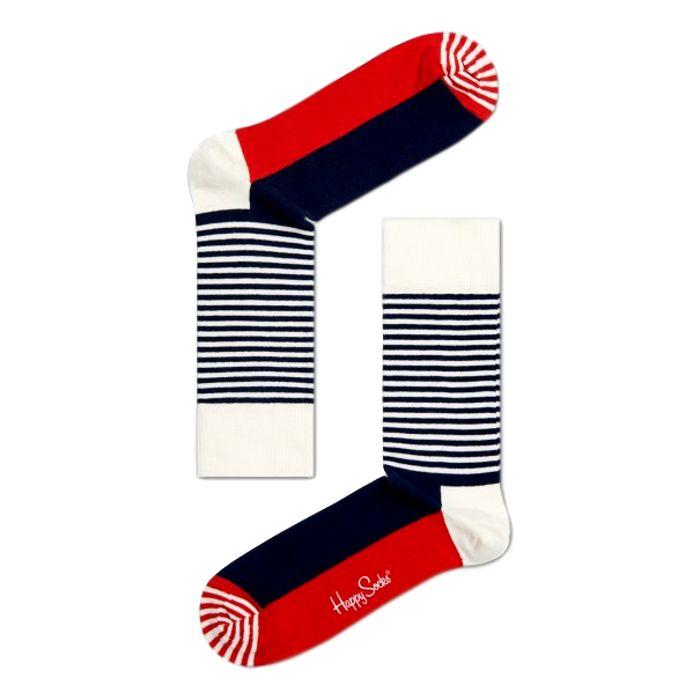 Happy Socks Stripe Half rood-wit-blauw
