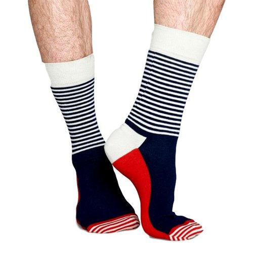 Happy Socks Stripe Half in het rood, wit en blauw