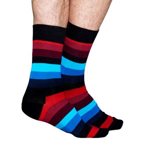 Happy Socks Stripe met zwart, blauw en rood
