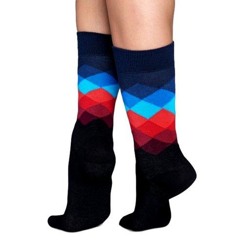 Happy Socks Faded Diamond sokken met zwart, blauw en rood