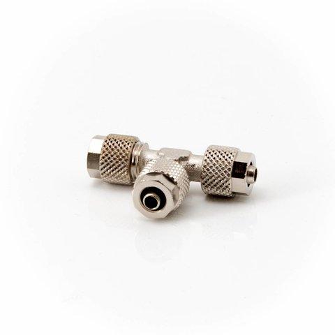 T-Stück messing vernickelt 3x Schlauchverschraubung für 4/6mm Schlauch