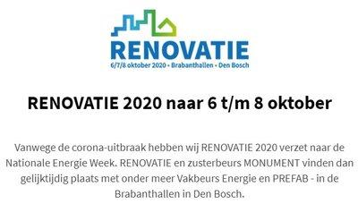 Renovatiebeurs 2020 verplaatst