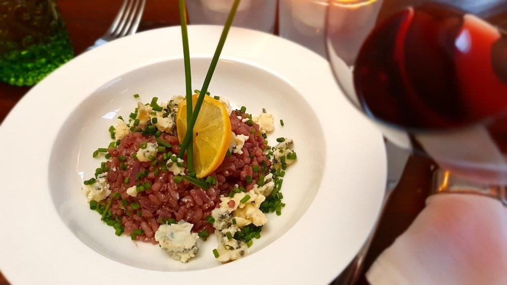'Kleine Blauwe' risotto met roquefort en bieslook