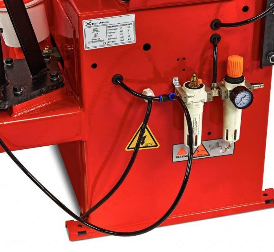 TM Bandendemonteermachine met  hulparm