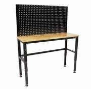 TM 131 cm. Workbench with wooden worktop and rear wall