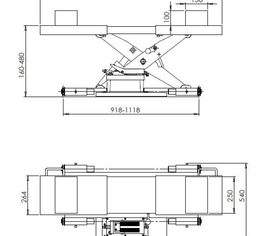 Midden krik lucht/hydraulisch 2,5T
