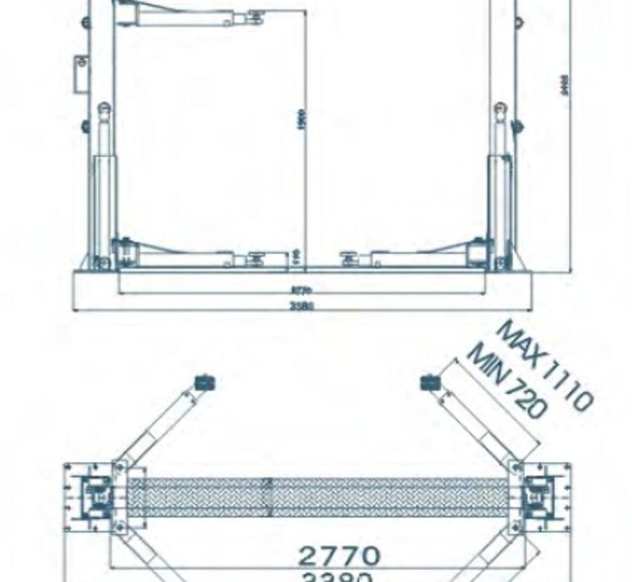 2 Koloms hydraulische Hefbrug 4 ton Volautomatisch 230V