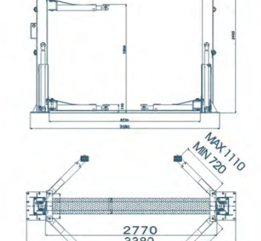 TM 2 Säulen hydraulische Hubbrücke 4 Tonnen Vollautomatisch 230V
