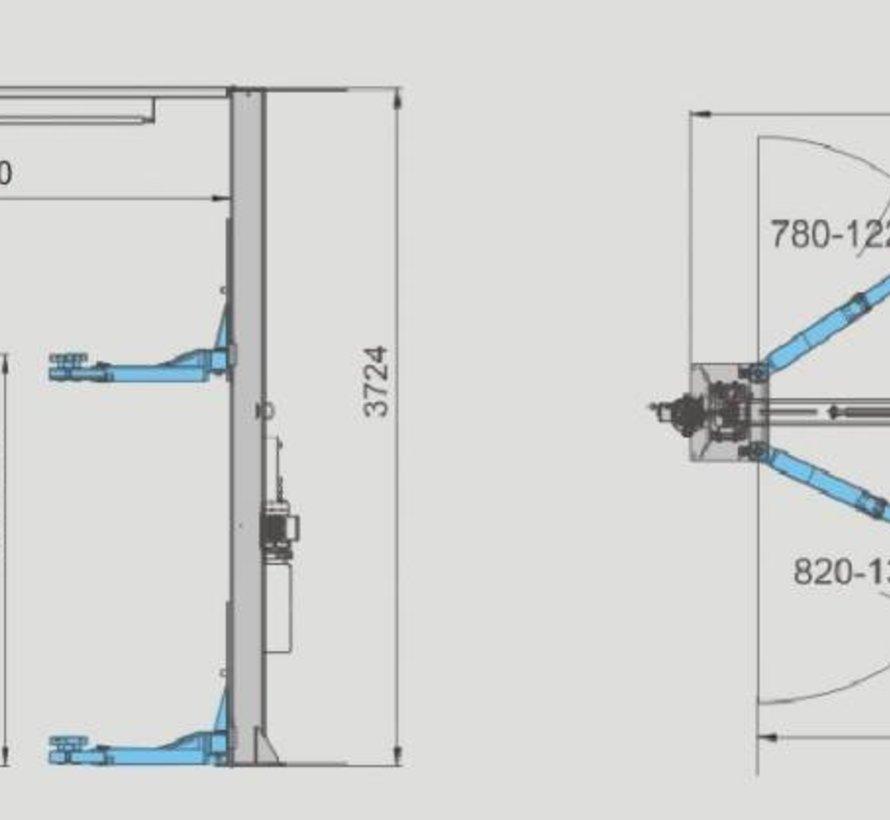 Vloervrij 2 koloms hefbrug 4.0 ton volautomatisch