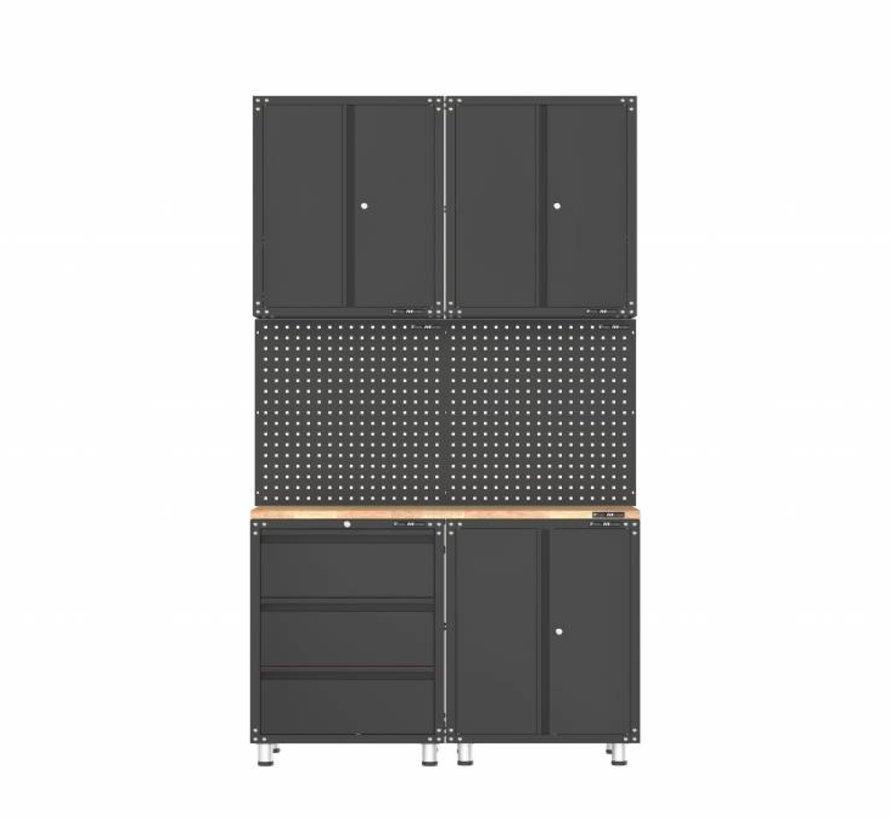Premium zwarte werkplaatsinrichting met werkbank en gereedschapskasten 7 delig