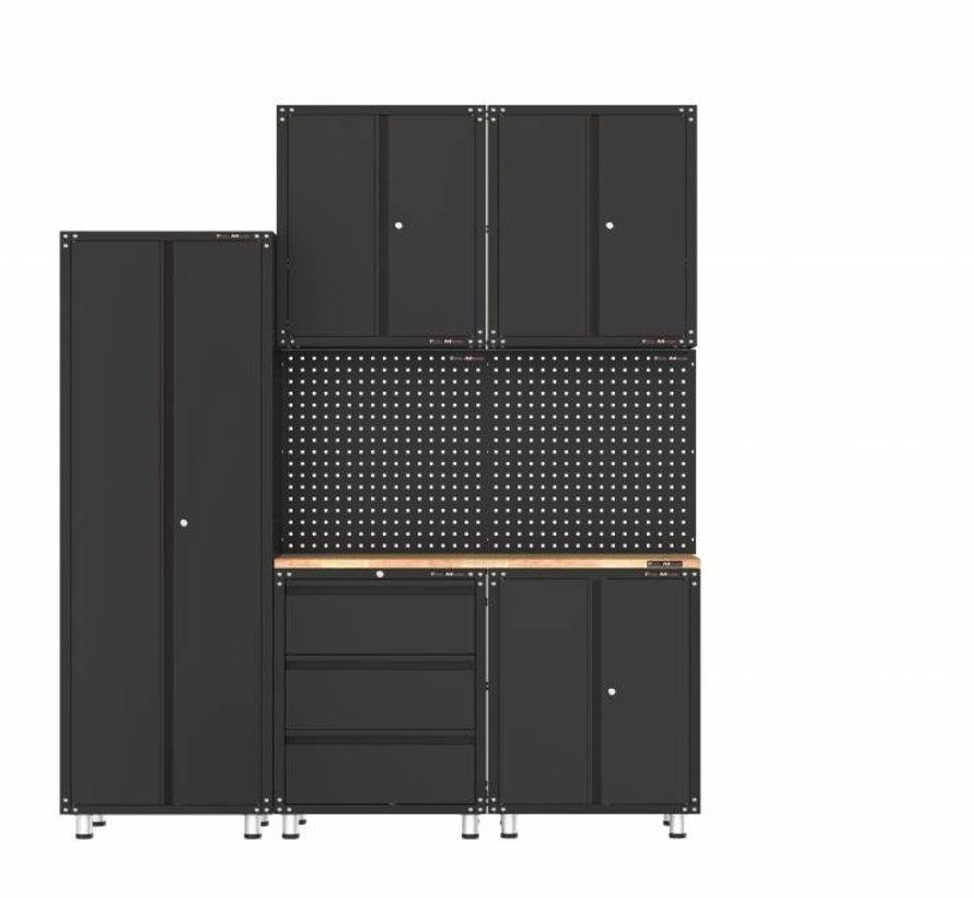 Premium zwarte werkplaatsinrichting met werkbank en gereedschapskasten 8 delig