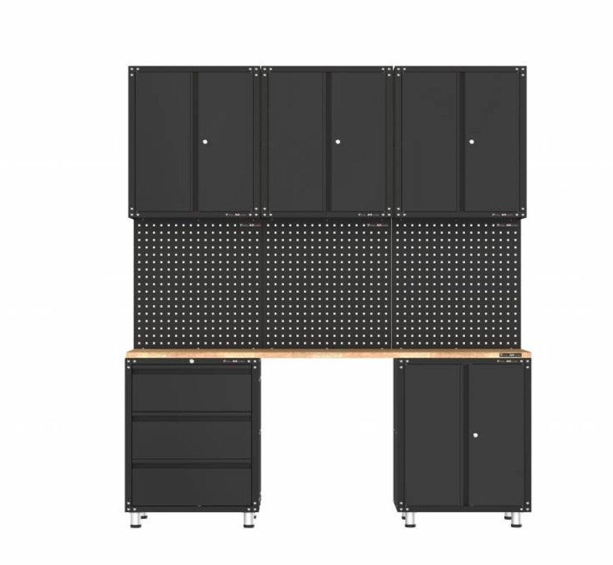 Premium schwarze Werkstattausrüstung mit Werkbank und Werkzeugschränken 9 Teile