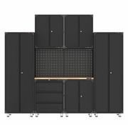 TM Premium zwarte werkplaatsinrichting met werkbank en gereedschapskasten 9 delig