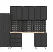 TM Premium zwarte werkplaatsinrichting met werkbank en gereedschapskasten 10 delig