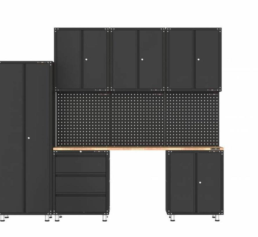 Premium zwarte werkplaatsinrichting met werkbank en gereedschapskasten 10 delig