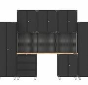 TM Premium zwarte werkplaatsinrichting met werkbank en gereedschapskasten 11 delig