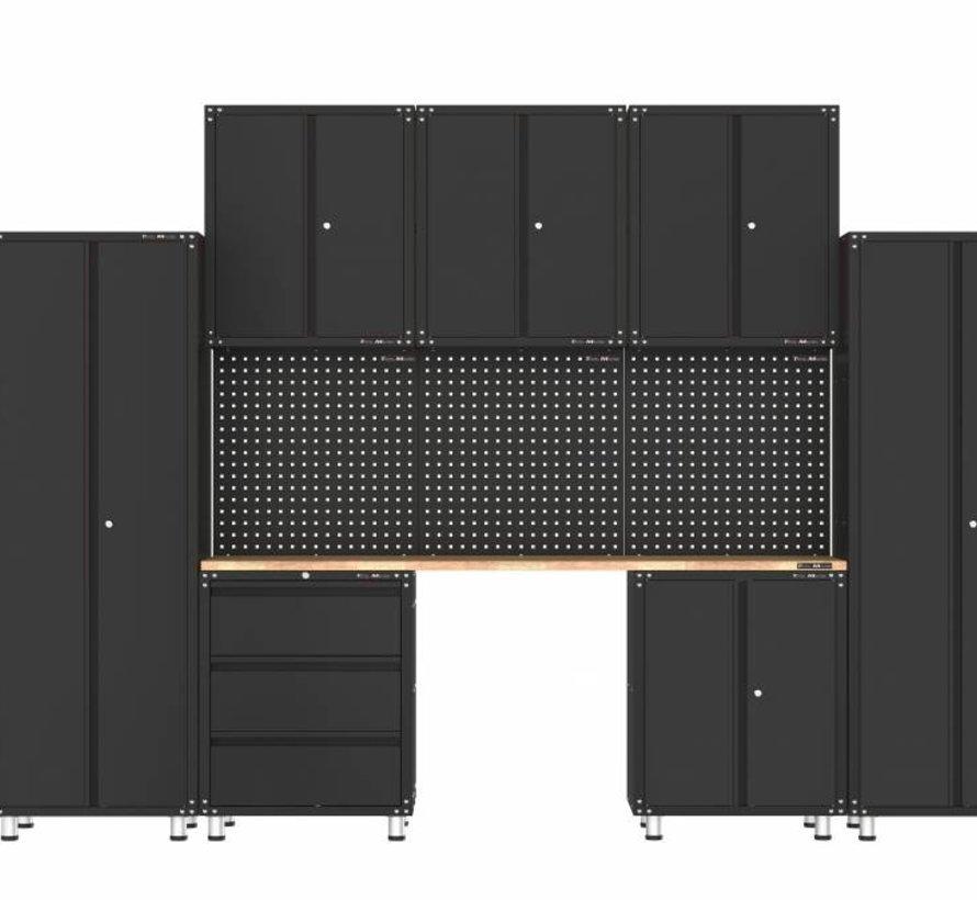 Premium schwarze Werkstattausrüstung mit Werkbank und Werkzeugschränken 11 Stück