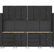 TM Premium zwarte werkplaatsinrichting met werkbank en gereedschapskasten 16 delig