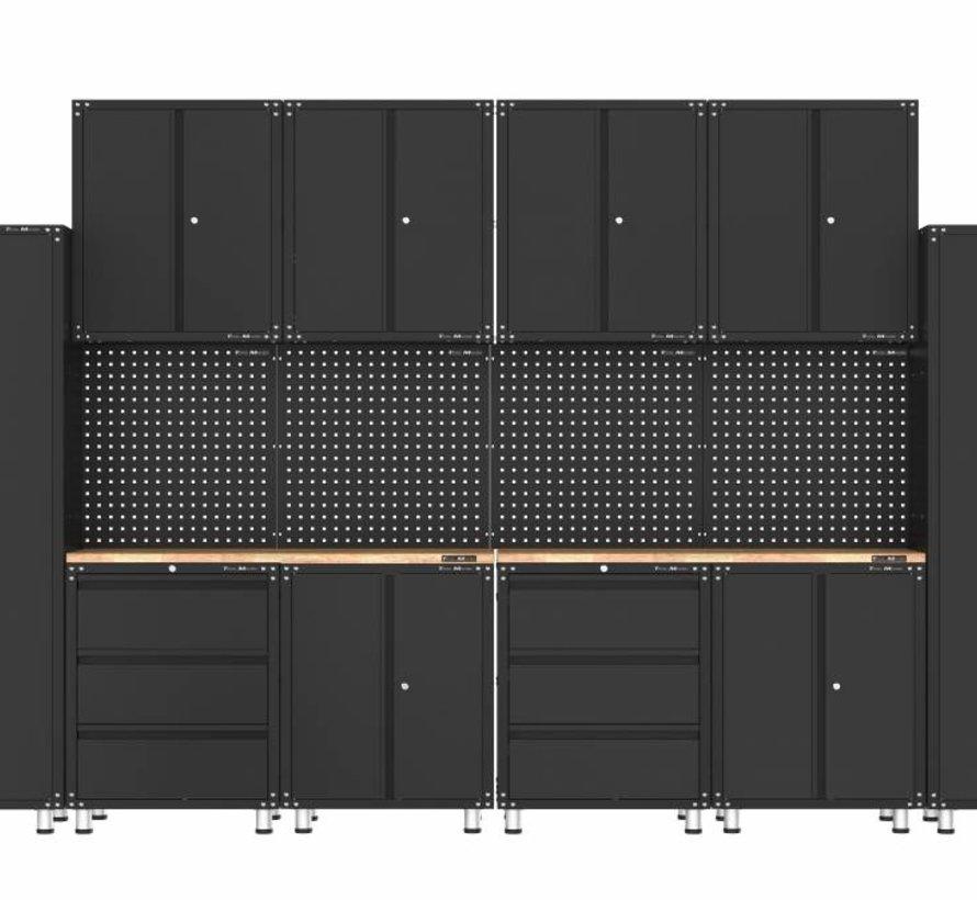 Premium schwarze Werkstattausrüstung mit Werkbank und Werkzeugschränken 16 Stück