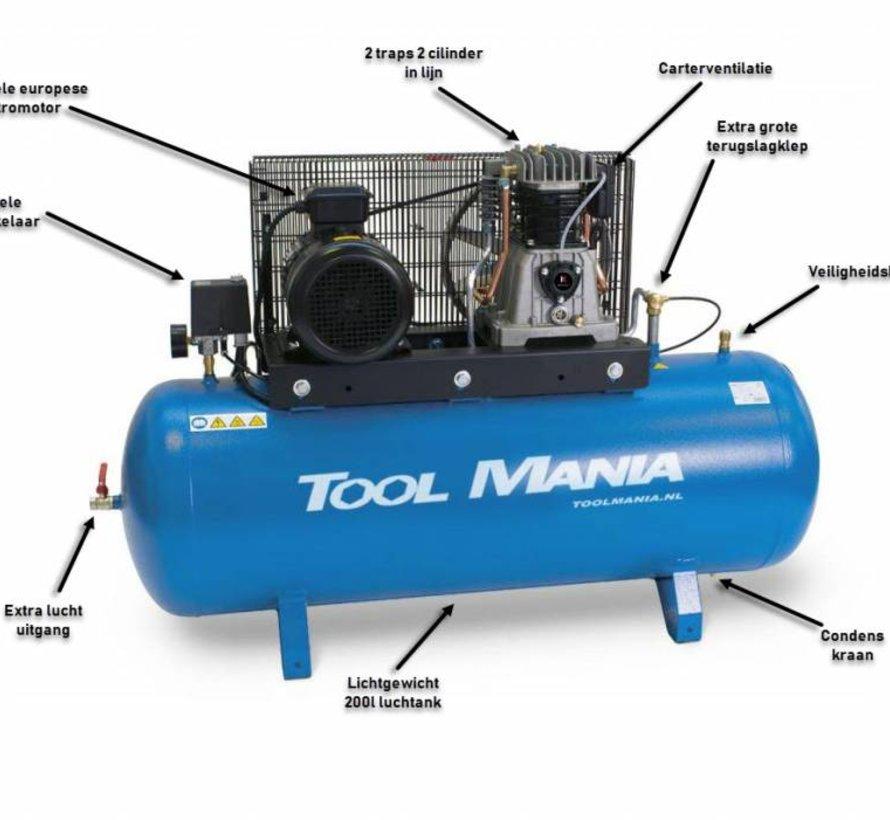 200 Liter Compressor 5,5 Hp, 400v