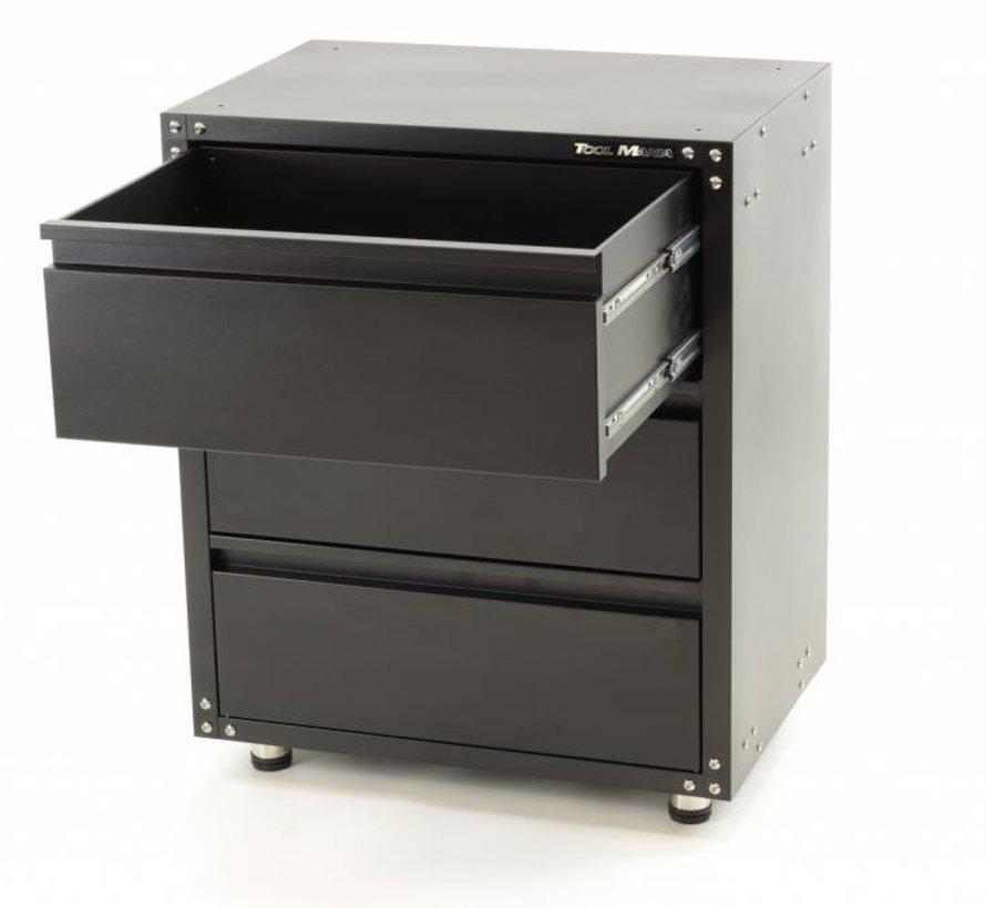 Modularer Werkzeugschrank mit 3 Schubladen SCHWARZ