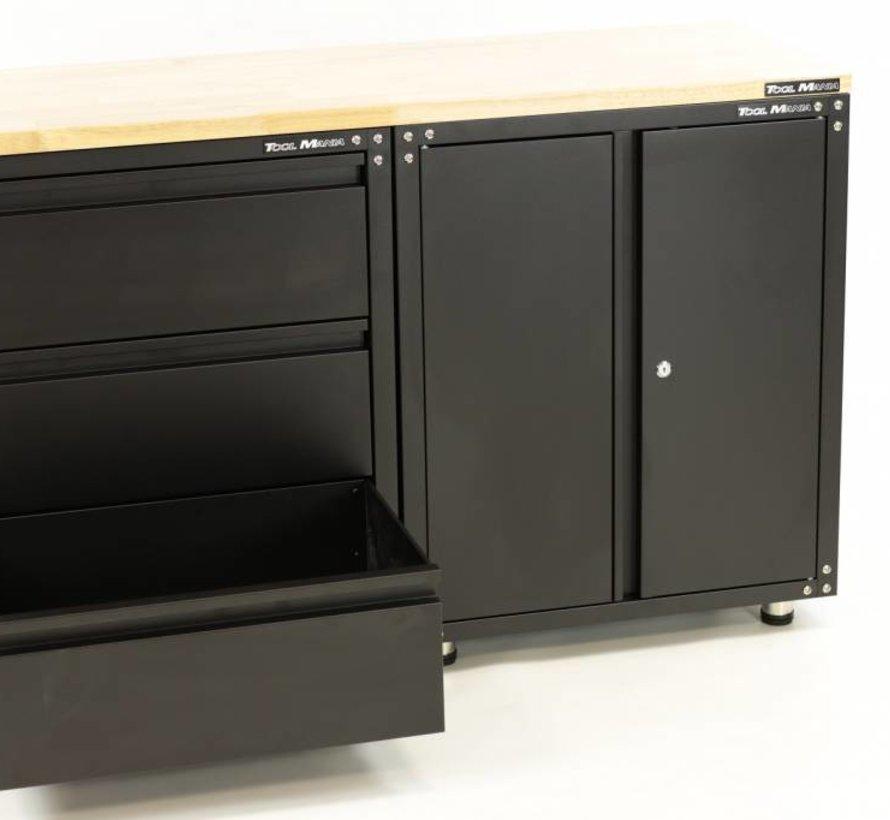Premium zwarte werkplaatsinrichting met werkbank en gereedschapskasten  3 delig