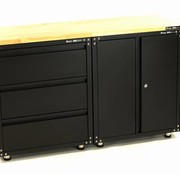 TM Erstklassige schwarze Werkstattausstattung mit Werkbank und Werkzeugschränken 3 Teile