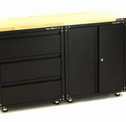 TM Premium zwarte werkplaatsinrichting met werkbank en gereedschapskasten  3 delig