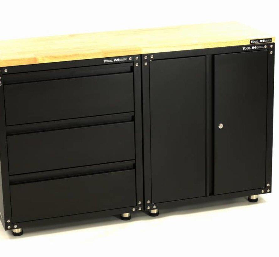 Erstklassige schwarze Werkstattausstattung mit Werkbank und Werkzeugschränken 3 Teile