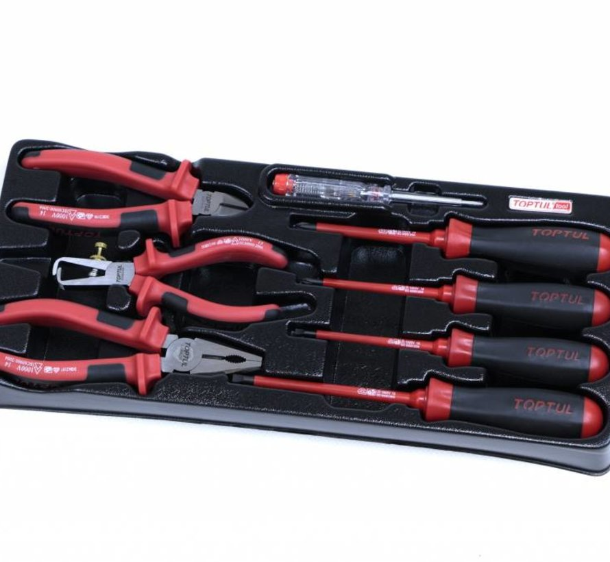 TopTul 8 piece VDE pliers and screwdriver set