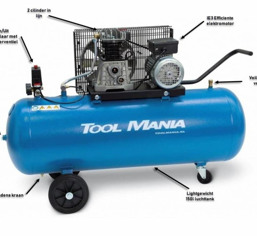 TM 150 liter compressor 3Hp, 230v