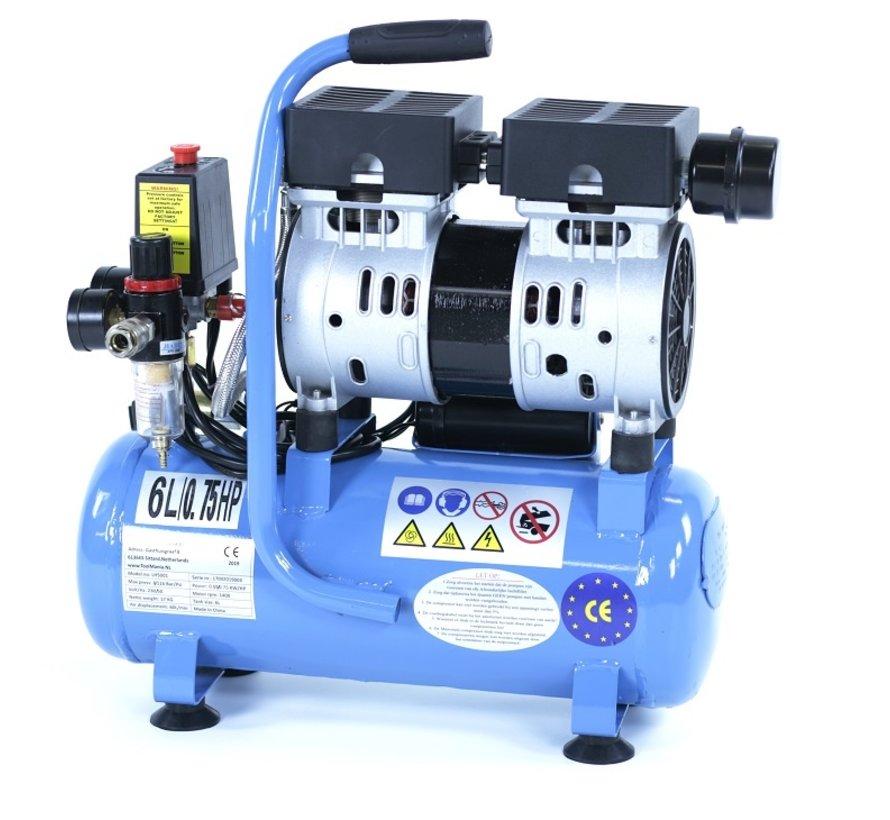 6 Liter Professionele Low Noise Compressor 0,75 HP 230v
