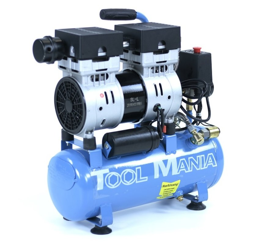 TM 6 Liter professioneller geräuscharmer Kompressor 1 PS 230 V.