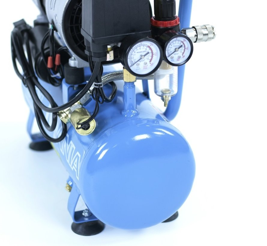 6 Liter Professional Low Noise Compressor 1HP 230v