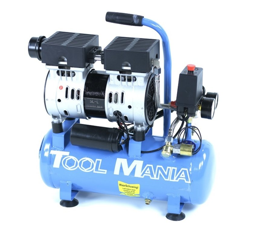 9 Liter Professional Low Noise Compressor 1HP 230v