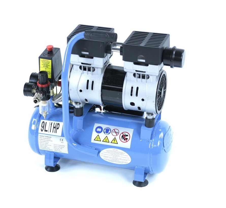 9 Liter Professioneller Geräuscharmer Kompressor 1PS 230V