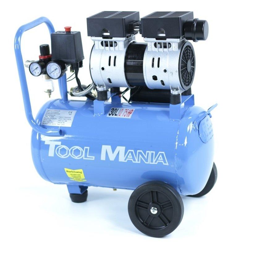 Professioneller geräuscharmer 30-Liter-Kompressor 0,75 PS, 230 V