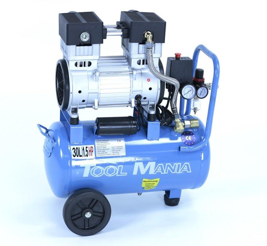 TM 30 Liter professioneller geräuscharmer Kompressor 1,5 PS 230 V.