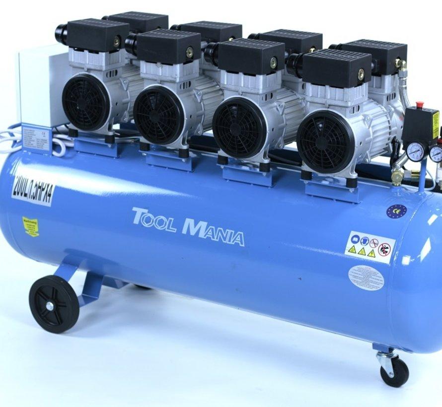 TM 200 Liter professioneller geräuscharmer Kompressor 6 PS 230V